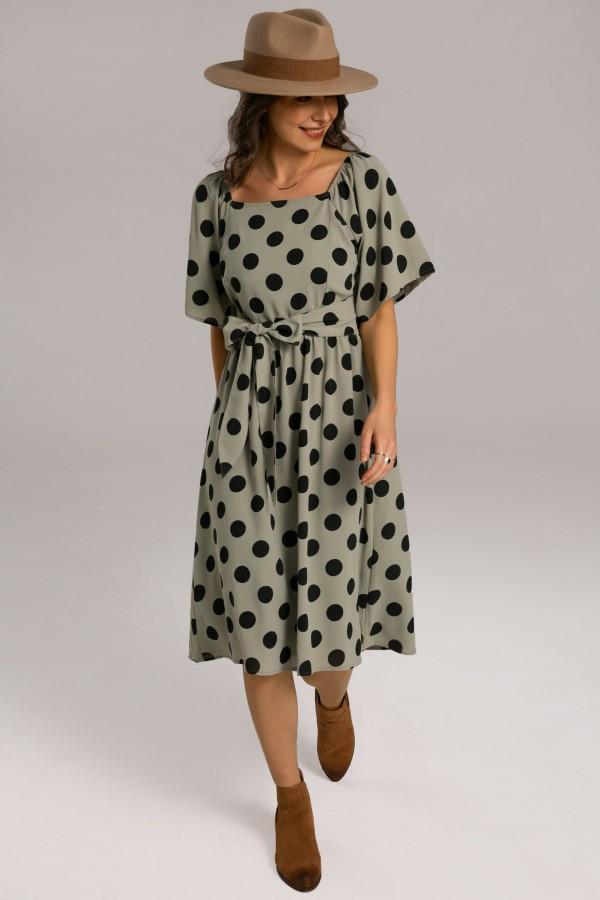 Short Bell Sleeve Square Neck Gathered Waist Polyester Dot Midi Dress