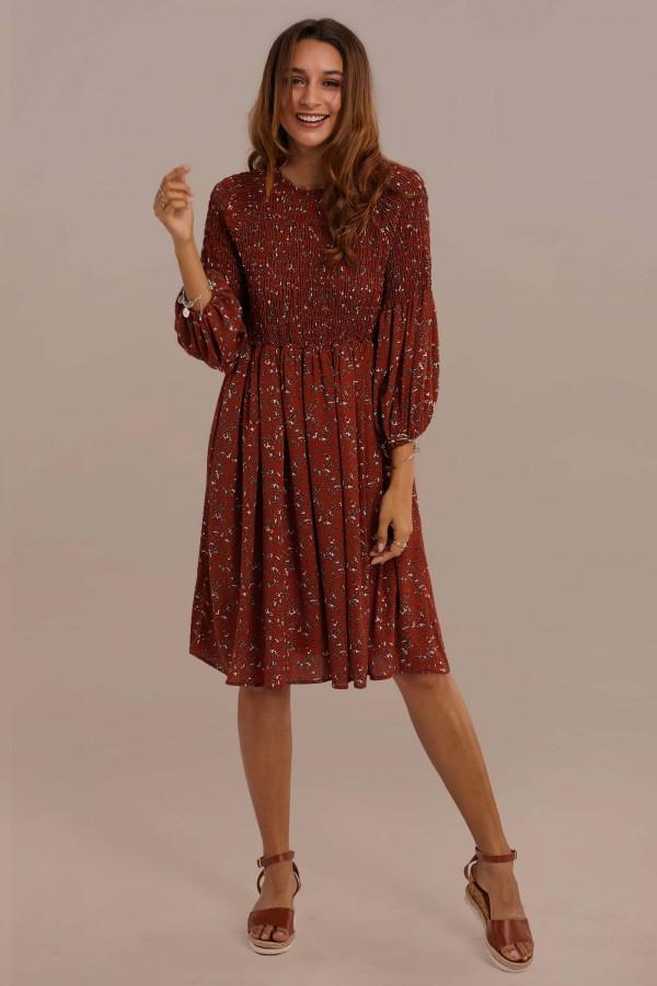 Rust 3/4 Length Sleeve Polyester Knee Length Floral Dress