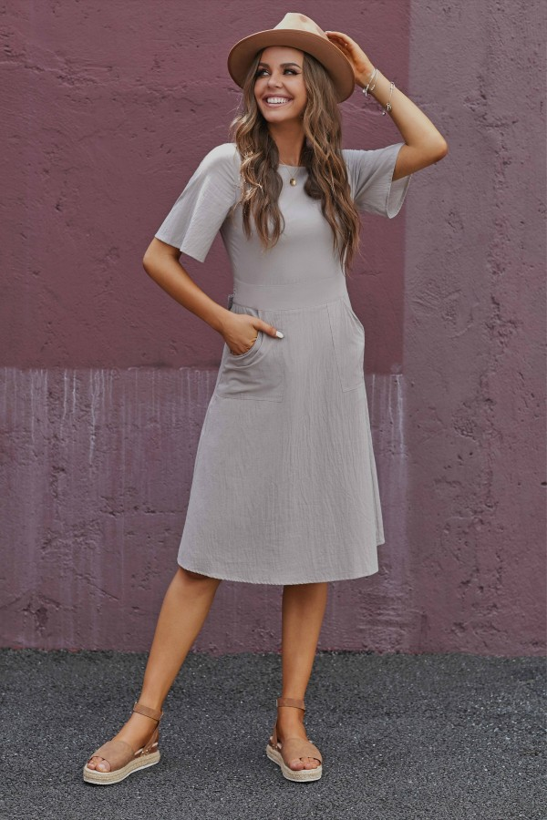 Stone Half Sleeves Round Neckline Cotton  Midi Dress with Pockets