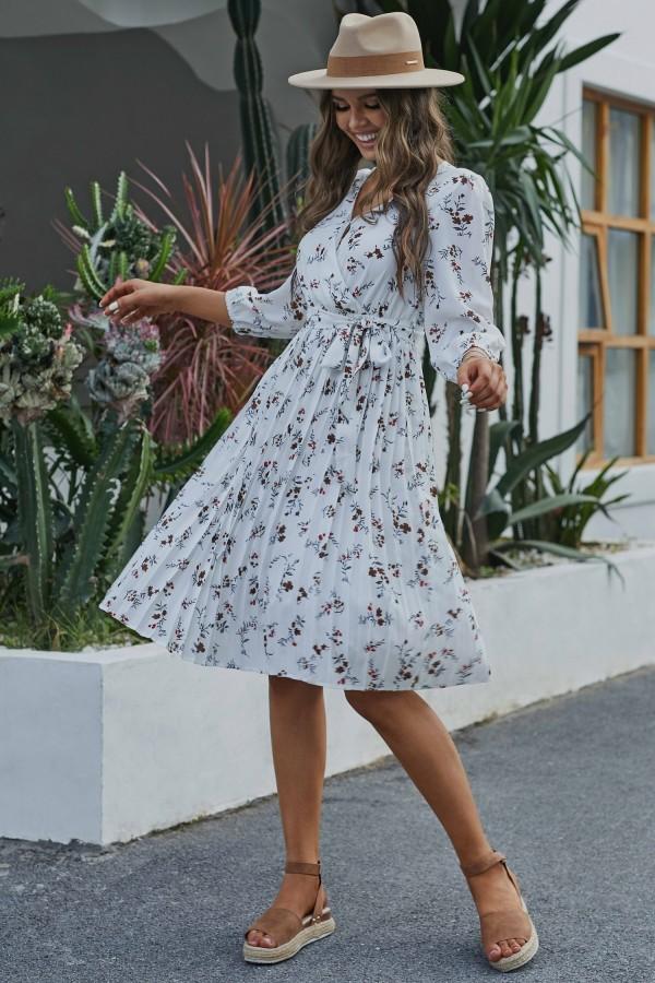 White 3/4 Length Sleeves V Neckline Tie Waist Polyester Midi Dress