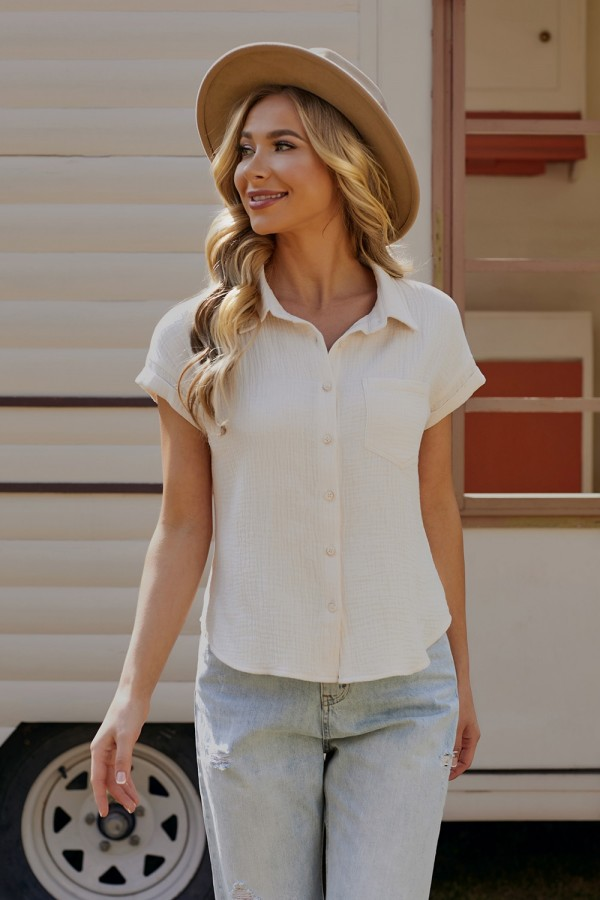 White Short Sleeves Classic Collar Cotton Blouse
