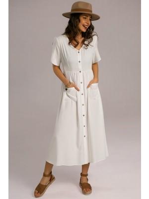 White Short Sleeve Vneck Elastic Waist Midi Dress With Buttons