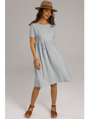 Blue Short Sleeve Round Neck Polyester Knee Length Dress With Pockets
