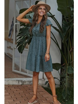 Short Sleeves V-neck High Waist Ruffle Floral Mini Dress with Buttons