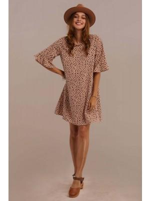 Brown Half Ruffle Sleeve Round Neck Natural Mini Dress