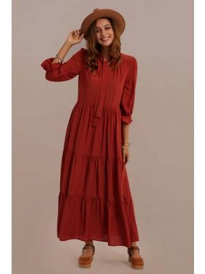 Half Sleeve Tie Around Neck Ruffle Natural Maxi Dress