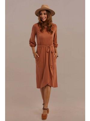 3/4 Length Sleeve Round Neck Summer Elastic Waistband Midi Dress With Pocket