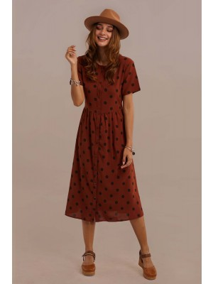 Red Short Sleeve Round Neck Tie Waist Dot Midi Dress With Button