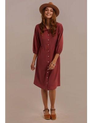 Red 3/4 Length Sleeve Collar Neck Cinched Waist Button Knee Length Dress