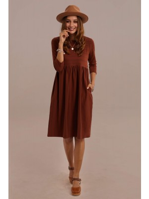 3/4 Length Sleeve Round Neck Natural Stripe Midi Mom Dress With Pocket