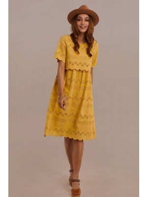 Short Sleeve Round Neck Natural Knee Length Mom Dress