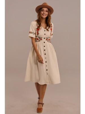 White Half Sleeves V-neck Cotton Embroidered Midi Dress