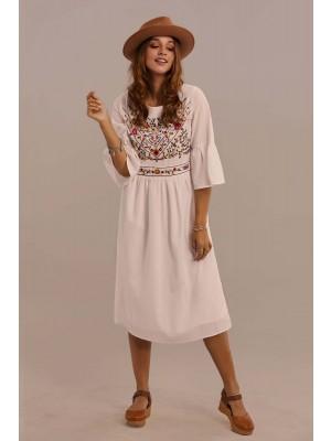 White 3/4 Length Bell Sleeves Round Neckline Cotton Short Summer Dress