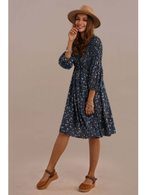 Blue 3/4 Length Sleeve Round Neck Natural Polyester Summer Floral Midi Dress