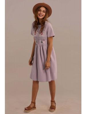Short Sleeve Round Neckline Gathered Waist Cotton Embroidered Midi Dress