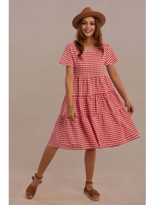 Red Short Sleeve Round Neck Summer Knee Length Dress