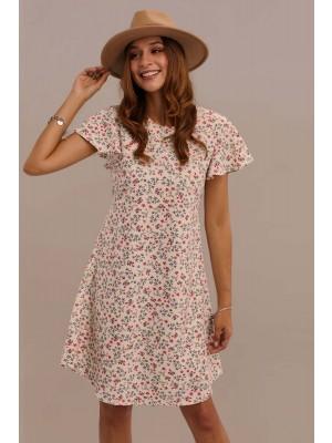 White Short Ruffle Sleeve Round Neck Tie Waist Summer Mini Floral Dress