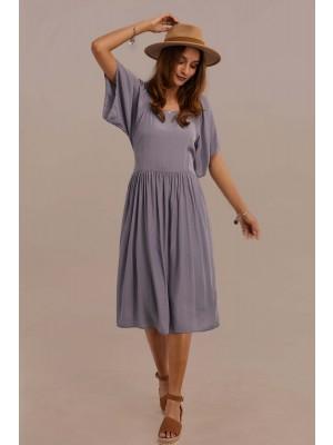Half Sleeve Square Neckline Tie Waist Summer Midi Dress With Pocket