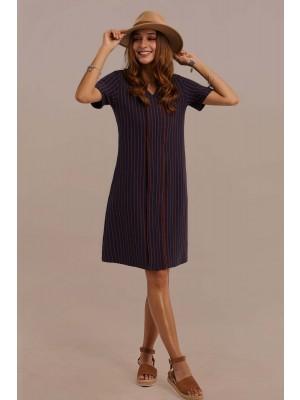 Navy Short Sleeve V-neck Cotton Mini Mom Dress With Pocket