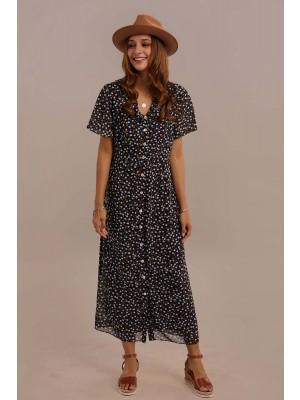 Navy Short Sleeve V-neck Natural Ruffle Maxi Dress With Pocket