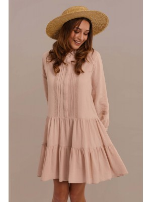 Blush Long Sleeve Collar Neck Natural Waist Polyester Above Knee Length Dress