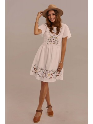White Short Sleeve Round Neck Gathered Waist Cotton Embroidered Dress With Pocket