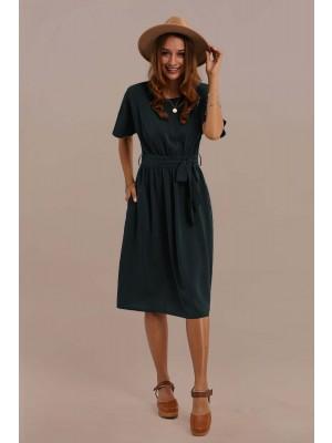 Green Short Sleeve Round Neck Tie Waist Midi Dress With Pocket
