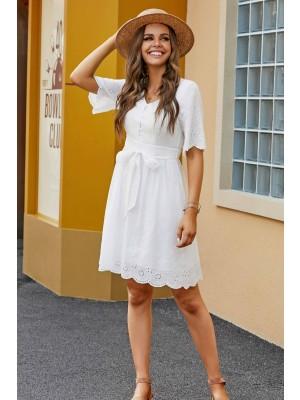 White Half Sleeves V Neckline Cotton Summer Mini Dress