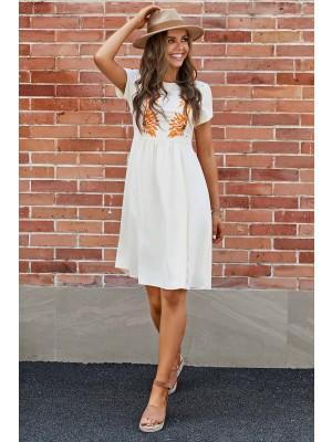 Ivory Short Sleeves Round Neckline Bodice Cotton Midi Dress with Pockets