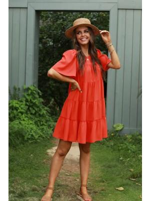 Red Short Sleeves Round Neckline Rayon Mini Dress