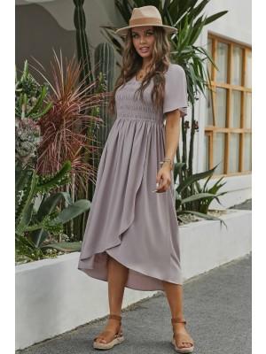 Lightpink Short Sleeve V Neckline Polyester Maxi Dress