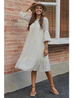 Ivory 3/4 Sleeve Round Neckline Rayon Lace Midi Dress