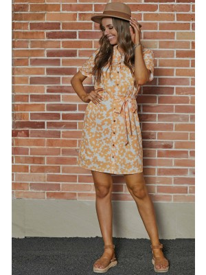Yellow Short Sleeve Collar Neckline Polyster Floral Midi Dress with Pockets