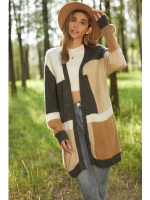 Casual Loose Mid-length Warm Stitching Cardigan Sweater Coat