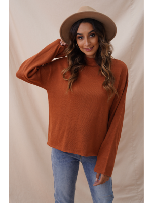 Chocolate Loose Solide Casual Cute Autumn Winter Thin Sweater