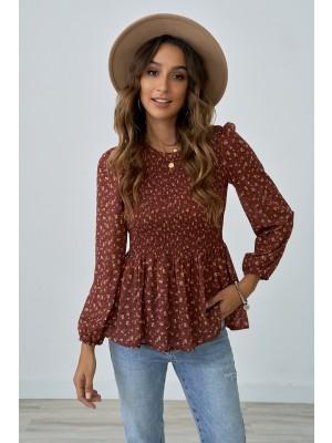 Rust Ruffle Long Sleeve Round Neckline Shirt