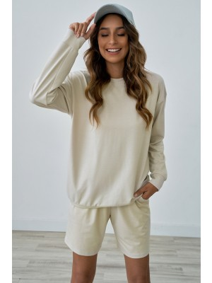 Cream Long Sleeves Round Neckline Home Comfy Casual Loungewear Set