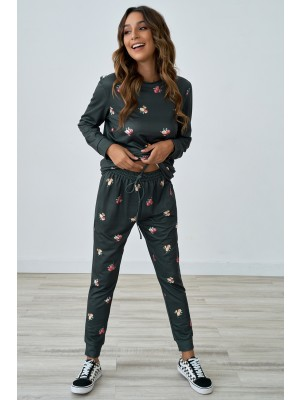 Floral Print Casual Loose Loungewear Set With Pocket