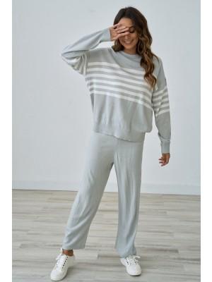Grey Stripe Leisure Home Loungewear Set