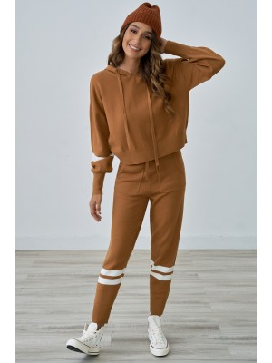 Brown Long Sleeves Home Casual Stripe Hoodie Loungewear Set with Pockets