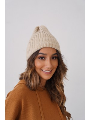 Casual Knit Texture Autumn Winter Beanie in Ivory