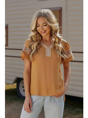 Yellow Short  Sleeves V-neckline Cotton Blouse