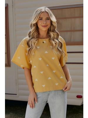 Yellow Half Sleeves Round Neckline Cotton Top