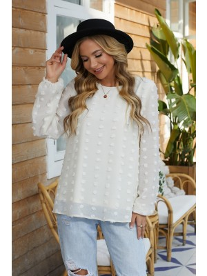 Ivory Short Sleeves Rounded Neckline Polyester Blouse