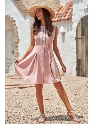 Pink Sleeveless Little High Neckline Rayon Mini Dress with Buttons