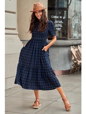 Navy Short Sleeves Round Neckline Spring Summer Cotton Maxi Dress