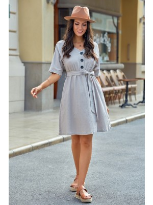 Half Sleeves V Neckline Rayon Midi Dress with Buttons