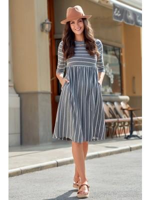 Gray 3/4 Length Sleeve Round Neckline Cotton Midi Dress