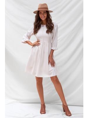 Beige 3/4 Length Sleeves Round Neckline Polyester Midi Dresss