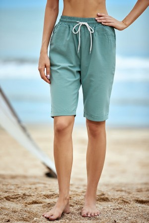 Blue Plus Size Pockets Casual Shorts
